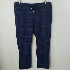 NWOT A New Day Navy Windowpane Print Ankle Pants